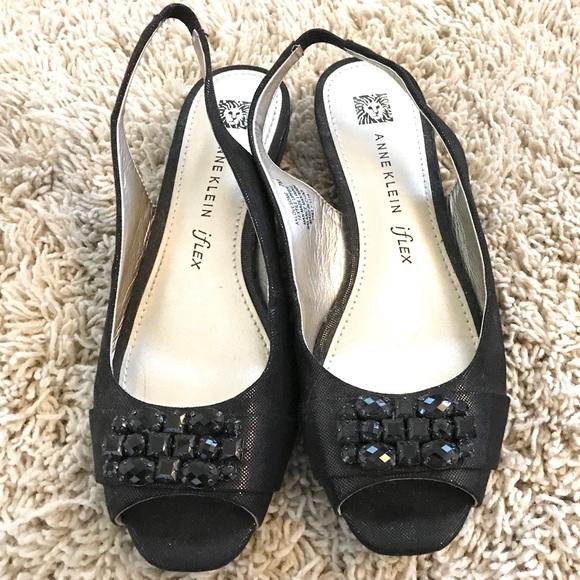 95c675d748 Anne Klein Shoes | Ann Klein Sparkly Black Stone Toe Sandals | Poshmark